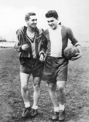 CA Oradea - József Pecsovszky (left), one of the club's and Romania best players ever.