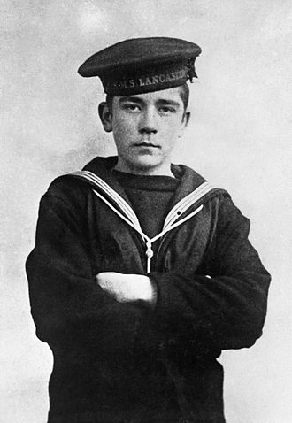 Cornwell Scout Badge - A press photograph of John Travers Cornwell VC, thought to have been posed by his younger brother, George.