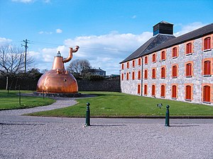 Irish whiskey - The Old Midleton Distillery, built in 1825, hosted a mammoth 31,618 gallon Pot still, the largest ever built. No longer in use, it now sits outside the visitor centre.