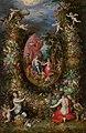Jan Brueghel de Oude ^ Hendrik van Balen - Krans van vruchten rond een voorstelling met Cybele die geschenken ontvangt van personificaties van de vier jaargetijden - 233 - Mauritshuis.jpg