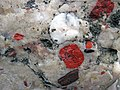 Jasper pebbles in quartzite (Lorrain Formation, Paleoproterozoic, ~2.3 Ga; Ottertail Lake Northeast roadcut, near Bruce Mines, Ontario, Canada) 20 (47656082632).jpg
