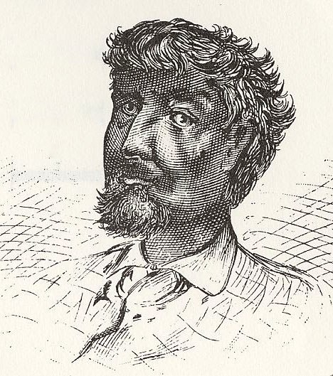 Black and white sketch of the bust of a man. His features are darkly shaded. He has dark curly hair and a goatee.