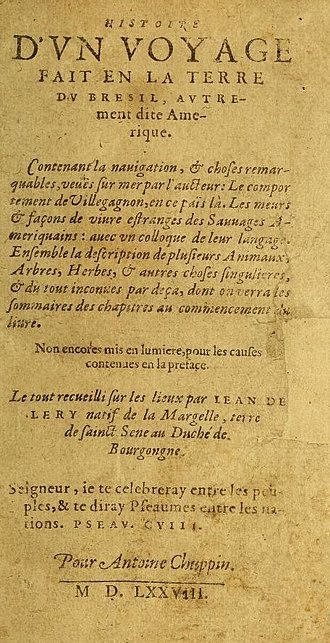 History of a Voyage to the Land of Brazil - Cover of the 1578 French Edition