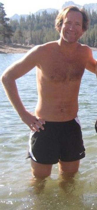 Jeff Atkinson (athlete) - Jeff Atkinson, in Mammoth Lakes, California, icing his legs