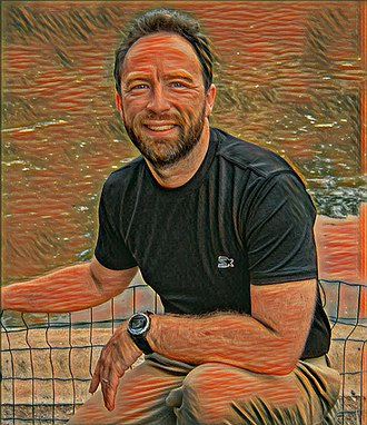 """Computer art - Image: Jimmy Wales in France, with the style of Munch's """"The Scream"""" applied using neural style transfer"""