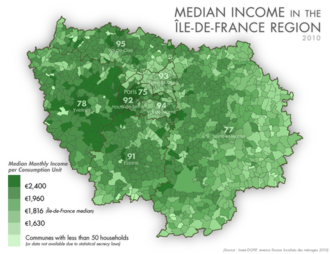 Île-de-France - Median income in the Île-de-France Region, 2010