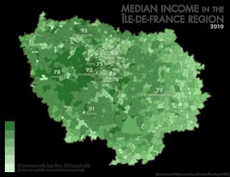Île-de-France - Median income in the Île-de-France Region, 2010