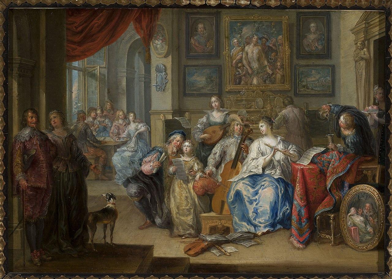 Иоганн Георг Платцер - Интерьер с концертом и игроками в карты - M. Ob.1005 MNW - Национальный музей в Warsaw.jpg