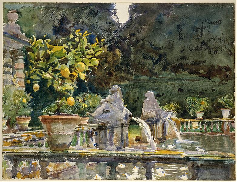 File:John Singer Sargent - Villa di Marlia, Lucca- A Fountain - Google Art Project.jpg