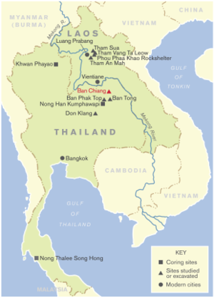 Joyce White - Localities in Thailand and Laos where Joyce White has conducted field research and/or studied recovered remains.