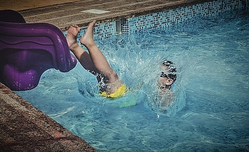 Jumping in the swimming pool