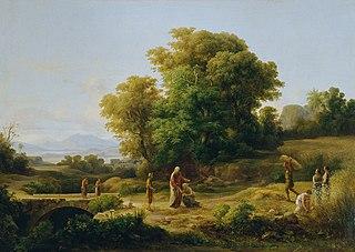Ideale Landschaft mit Boas und Ruth