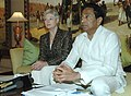 Kamal Nath and the Dutch Minister of Economic Affairs, Mrs. M.J.A. Van der Hoeven jointly briefing the press after the Indo-Dutch bilateral meeting, in New Delhi on October 24, 2007.jpg