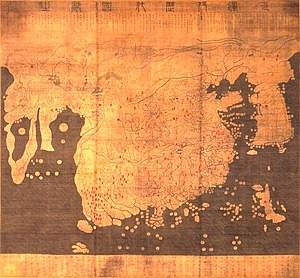 The Kangnido map (1402) predates Zheng's voyages and suggests that he had quite detailed geographical information on much of the Old World.