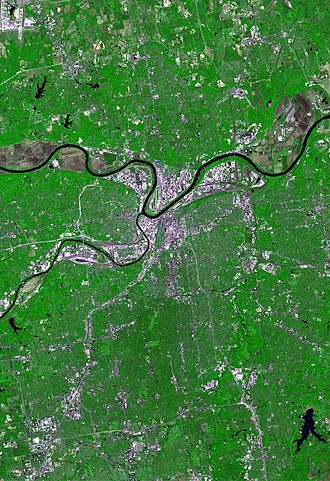 Kansas City metropolitan area - Kansas City satellite map. The larger Missouri River is zigzagging from west to east; the much smaller Kansas is approaching from the south and joins it at Kaw Point. Kansas City, Missouri, is located immediately south of their intersection; North Kansas City, Missouri, is to its northeast; and Kansas City, Kansas, is to the west.