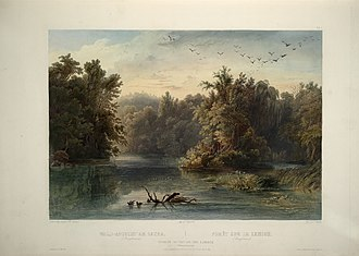 "Lehigh River - Forest scene on the Lehigh (Pennsylvania) (circa 1832): aquatint by Karl Bodmer from ""Maximilian, Prince of Wied's Travels in the Interior of North America, during the years 1832–1834"""
