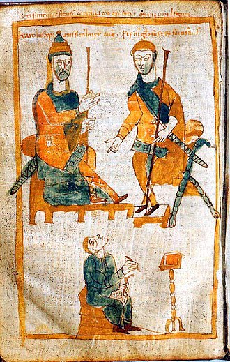 Ministerialis - Charlemagne, Pippin, and a ministerial clerk; a 10th-century copy of the original