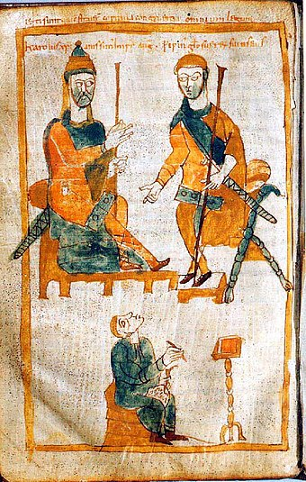 Charlemagne (left) and Pepin the Hunchback (10th-century copy of 9th-century original) Karl der Grosse - Pippin der Bucklige.jpg
