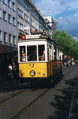 Trams in Karlsruhe - Museum tramcar 14 of the first series of electric trams in Karlsruhe. supplied in 1899