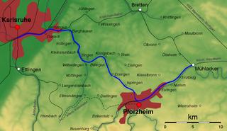 Karlsruhe–Mühlacker railway railway line in Germany