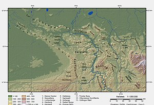 "Wiehen Hills - Location of the Wiehen Hills in the Lower Saxon Hills. It is easy to see that it forms a single geomor-phological unit with the Gehn, Weser Hills and Süntel. As the map clearly shows, the Wiehen Hills are the northernmost finger of the main body of the German Central Uplands. By contrast, other groups of ""real"" hills (excluding moraines), such as the Stemmer Berge or the Rehburger Berge at the upper edge of the map not far from the lakes of the Dümmer and Steinhuder Meer, lie like islands in the North German Plain."