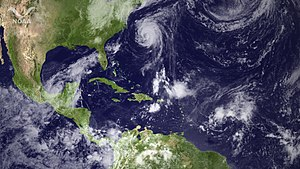 2011 Atlantic hurricane season - Three tropical cyclones simultaneously active on September 8. From left to right: Nate (left), Katia (middle), and Maria (right).