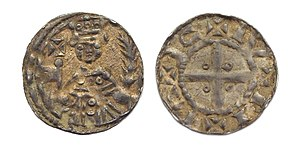 Frederick I, Holy Roman Emperor - Penny or denier with Emperor Frederick I Barbarossa, struck in Nijmegen.