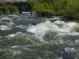 Riverboarding - A riverboarder floats down the Kern River at about 110 m<sup>3</sup>/s (4,000 cfs).