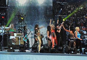 Taryn Terrell - Tiffany (far left) at WrestleMania XXV in 2009