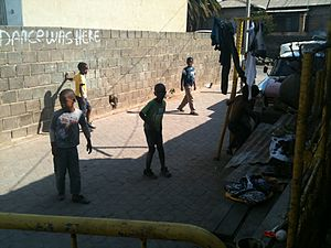 Alexandra, Gauteng - Children playing soccer