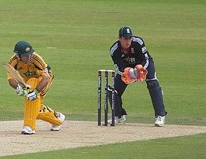 Craig Kieswetter - Image: Kieswetter keeping wicket against Australia, 2010