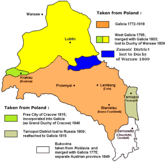 West Galicia - New Galicia is shown with yellow and green colors (the map does not show the Zamość Region, part of Galicia only 1772-1809)