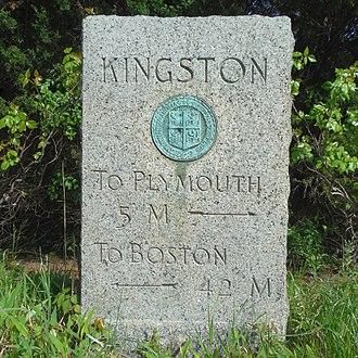 Kingston, Massachusetts - Historic granite milemarker on Loring Street