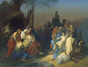 Holy Monday - Joseph sold into slavery by his brothers (Konstantin Flavitsky, 1855).