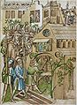 Konstanzer Richental Chronik Fest der Florentiner Geldwechsler an Sankt Johannes, Festteilnehmer betreten Kirche St Johann 67r.jpg