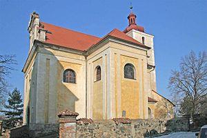 Církvice (Kutná Hora District) - Image: Kostel Svatého Vavřince v Církvicích