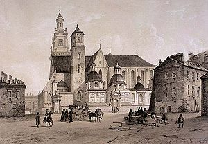 History of Kraków - Kraków Wawel Cathedral at Wawel, c. 1843