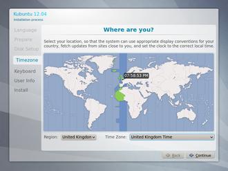 Wizard (software) - Image: Kubuntu 12.04 setup, step 4 (Timezone)
