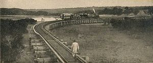 Kenya - The Kenya–Uganda Railway near Mombasa, about 1899.