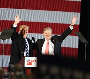 John Neely Kennedy - Then-President-elect Donald Trump and Kennedy campaigning in Baton Rouge