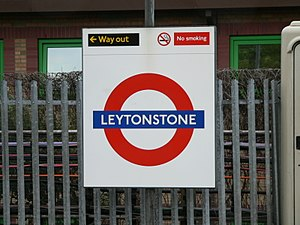 Signage systems - The famous roundel sign of the London Underground, in this case for Leytonstone