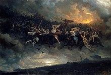 Un grup de călăreți zburători conduși de un bărbat bărbos, cu coif, pare să străpungă norii și să coboare pe un peisaj pustiu.
