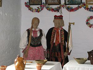 Lachy Sądeckie - Traditional dress of the Lachy Sądeckie in the Nowy Sacz Ethnographic Park (open-air museum)