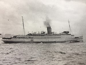 """RMS Lady of Mann - Lady of Mann in 1930s """"summer livery""""."""