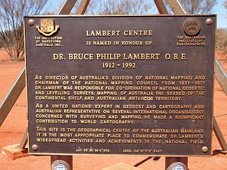 Centre points of Australia - Plaque at the Lambert Centre