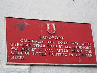 Landport (Gibraltar) - Image: Landport sign, Gibraltar