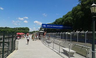 Street circuit - Puerto Madero Street Circuit, Argentina, alongside a typical food stand in the Costanera Sur.