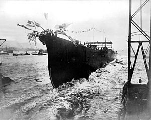 Japanese cruiser Maya - Launch of Maya, 8 November 1930
