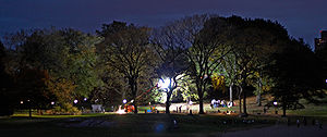 Law & Order: Special Victims Unit - SVU shooting on location in Central Park at night