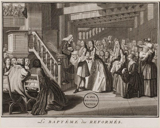 Reformed baptismal theology - Engraving of a baptism in a Reformed church by Bernard Picart